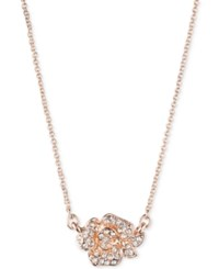 Anne Klein Crystal Flower Pendant Necklace Rose Gold