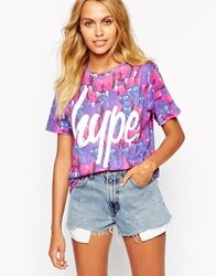 Hype T Shirt With All Over Parrot Print Purple