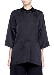 Victor Alfaro Drop Shoulder Satin Tunic Shirt Black