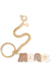 Marc By Marc Jacobs Gold Tone Crystal Embellished Resin Keychain Mushroom