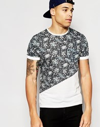 Another Influence Floral Cut And Sew T Shirt Grey
