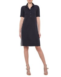 Akris Punto Short Sleeve Shirtdress W Striped Back Navy
