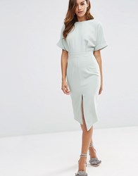 Asos Wiggle Dress With Split Front Sage Green
