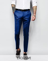 Noose And Monkey Tuxedo Suit Trousers With Stretch And Jacquard In Super Skinny Fit Blue