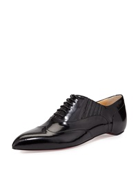 Christian Louboutin Polished Pointy Toe Red Sole Oxford Black