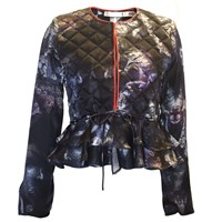 Klements Victoria Quilted Frill Silk Jacket In Bruised Lace Print Black