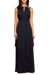 Alex Evenings Women's Embellished Chiffon A Line Gown