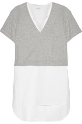10 Crosby By Derek Lam Cotton Terry Top And Cotton Poplin Dress Set Gray