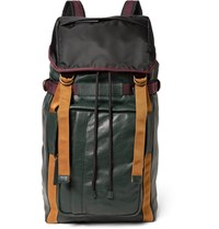 Marni Grained Leather And Shell Backpack Green