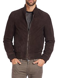 Saks Fifth Avenue Suede Bomber Jacket Brown