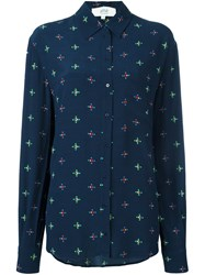 Vanessa Bruno Athe Geometric Print Button Down Shirt Blue