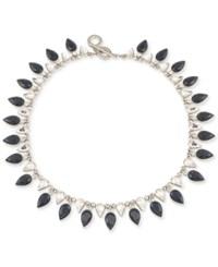 Carolee Silver Tone Jet And Clear Teardrop Crystal Collar Necklace Blue