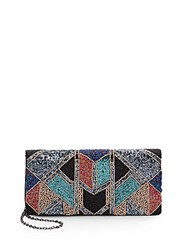 Saks Fifth Avenue Art Deco Beaded Clutch Multi