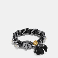 Coach Studded Daisy Rivet Tea Rose Charm Bracelet Black Multicolor