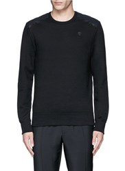 Alexander Mcqueen Perforated Leather Patch Sweatshirt Black