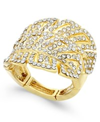 Inc International Concepts Gold Tone Pave Leaf Statement Stretch Ring Only At Macy's