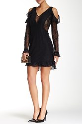 Madison Marcus Open Shoulder Ruffled Lace Dress Black