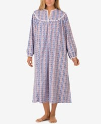 Lanz Of Salzburg Plus Size V Neck Flannel Nightgown Blue Tryolean Print