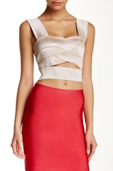 Wow Couture Banded Crop Tank Brown