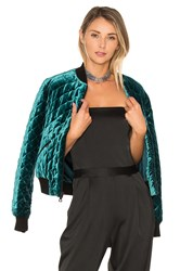 Alice Olivia Demia Quilted Bomber Teal