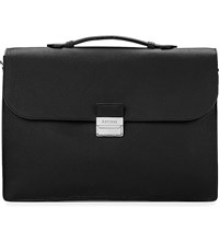 Aspinal Of London Combination Lock Pebble Embossed Leather Briefcase Black