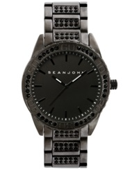 Sean John Men's Stone Accent Black Tone Bracelet Watch 54X48mm 10021787