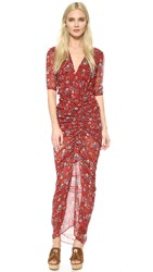 Veronica Beard Mariposa Midi Dress Rust Floral