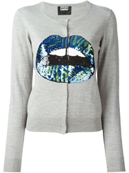 Markus Lupfer Tribal Sequin Lips Cardigan Grey