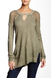 Democracy Perforated Shoulder Asymmetrical Tee Green