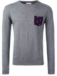 Sun 68 Crew Neck Printed Pocket Jumper Grey