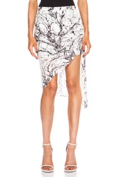 Haute Hippie Short Side Gather Printed Silk Skirt In White Abstract
