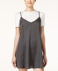 Material Girl Juniors' Striped Slip Dress With T Shirt Only At Macy's Black