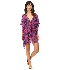 Tommy Bahama Jacobean Tunic Cover Up With Tassels Wild Orchid Pink Women's Swimwear