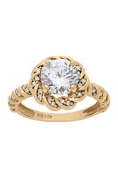 10K Gold Round Cut Cz Twisted Vine Ring Yellow
