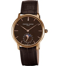 Frederique Constant Fc705c4s9 Classics Manufacture Slimline 18Ct Rose Gold And Alligator Leather Moonphase Watch