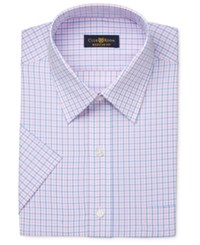 Club Room Men's Easy Care Pink Blue Gingham Short Sleeve Dress Shirt Only At Macy's
