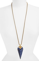 Tory Burch Semiprecious Stone Arrowhead Pendant Necklace Natural Gold