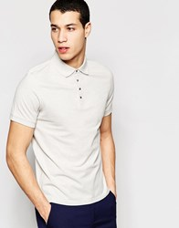 Selected Homme Polo Shirt With Snaps Light Grey Melange