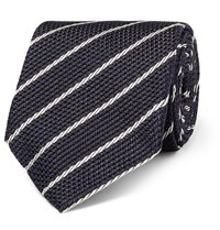 Tom Ford 9Cm Striped Woven Silk Tie Blue