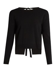 Valentino Tie Back Crew Neck Sweater Black