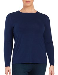 Lord And Taylor Plus Crewneck Knit Top Navy Night