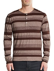 V Room Cachion Striped Wool Blend Henley Sweater Brown