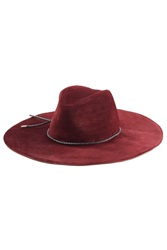 Emilio Pucci Suede Fedora With Leather Trim Red