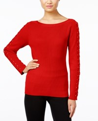 Inc International Concepts Lace Up Sweater Only At Macy's Real Red