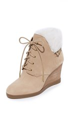 Michael Michael Kors Carrigan Shearling Wedge Booties Dark Khaki