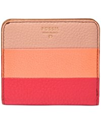 Fossil Sydney Leather Patchwork Bifold Wallet Pink Stripe