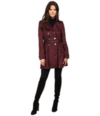 Jessica Simpson Sueded Rain Trench With Double Breasted Buttons Burgundy Women's Coat