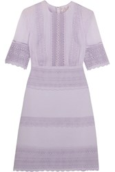 Giambattista Valli Guipure Lace Paneled Crepe And Chiffon Mini Dress Lilac