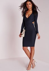 Missguided Cut Out Bodycon Dress Navy Blue