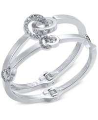 Inc International Concepts 2 Pc. Silver Tone Pave Hinged Bangle Bracelet Set Only At Macy's